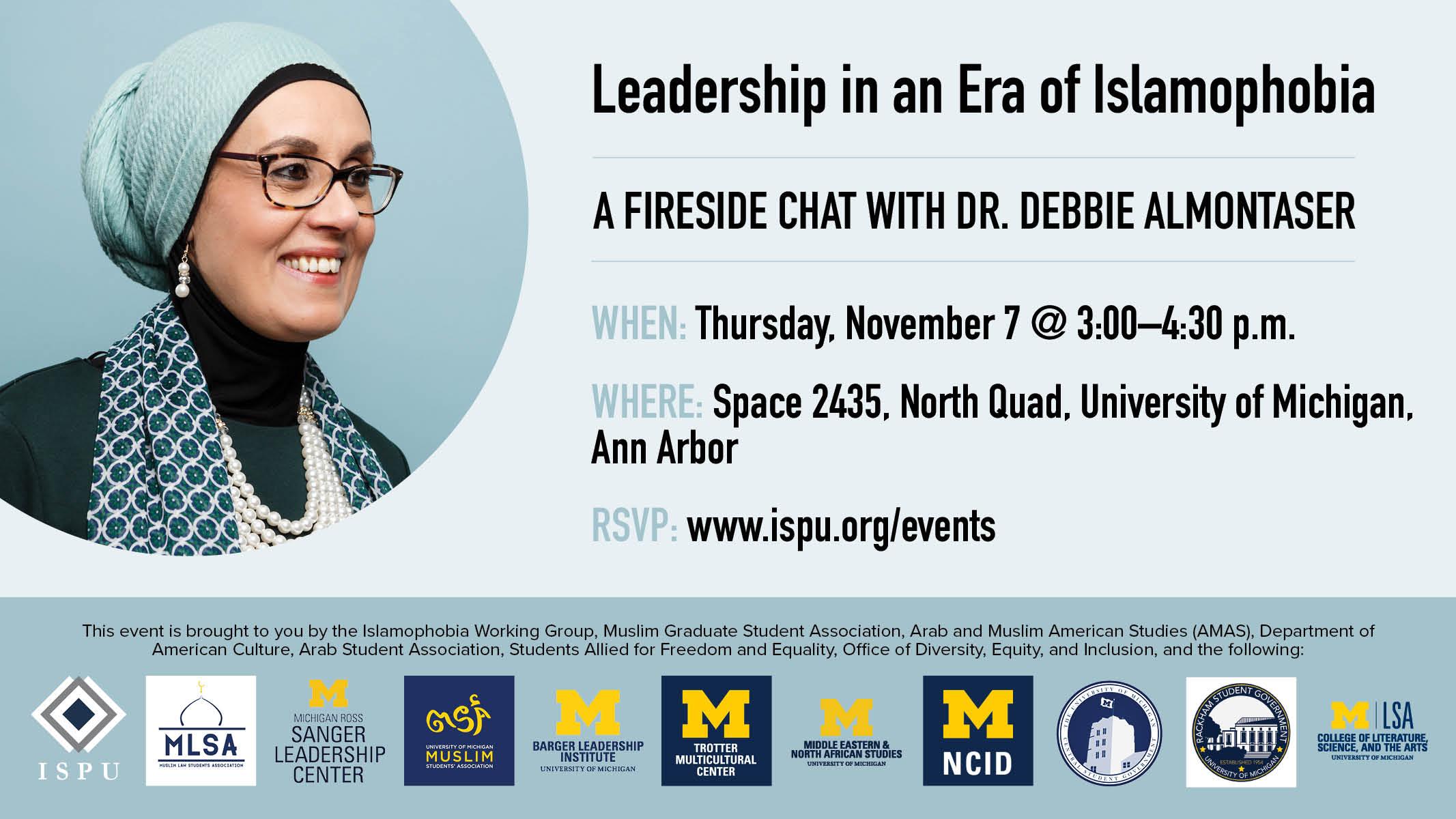 Leadership in an era of Islamophobia event flyer