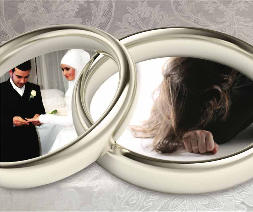 Two overlapping wedding rings, inside one is an image of a Muslim couple exchanging rings at their wedding ceremony, inside the other is a visibly upset women with her head in her arms