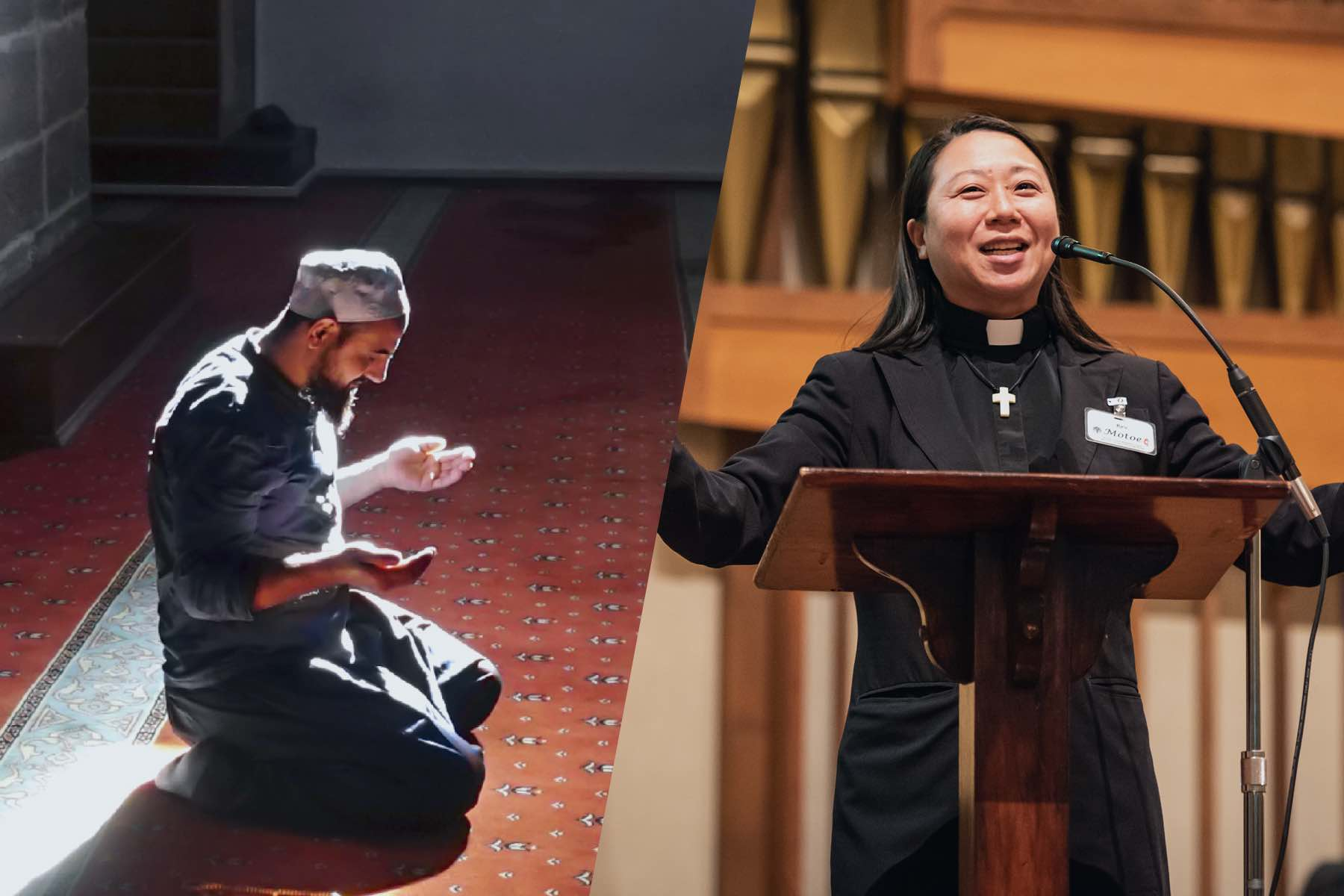 On the left: A Muslim man kneels in prayer alone at a mosque; On the right: a female reverend wearing a collar stands in front of a podium and speaks into a microphone