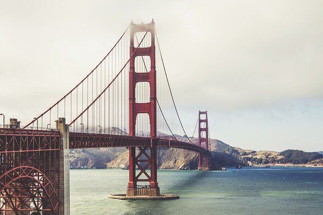 The Golden Gate Bridge covered in fog