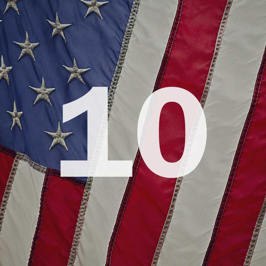 An American flag with a 10 over it