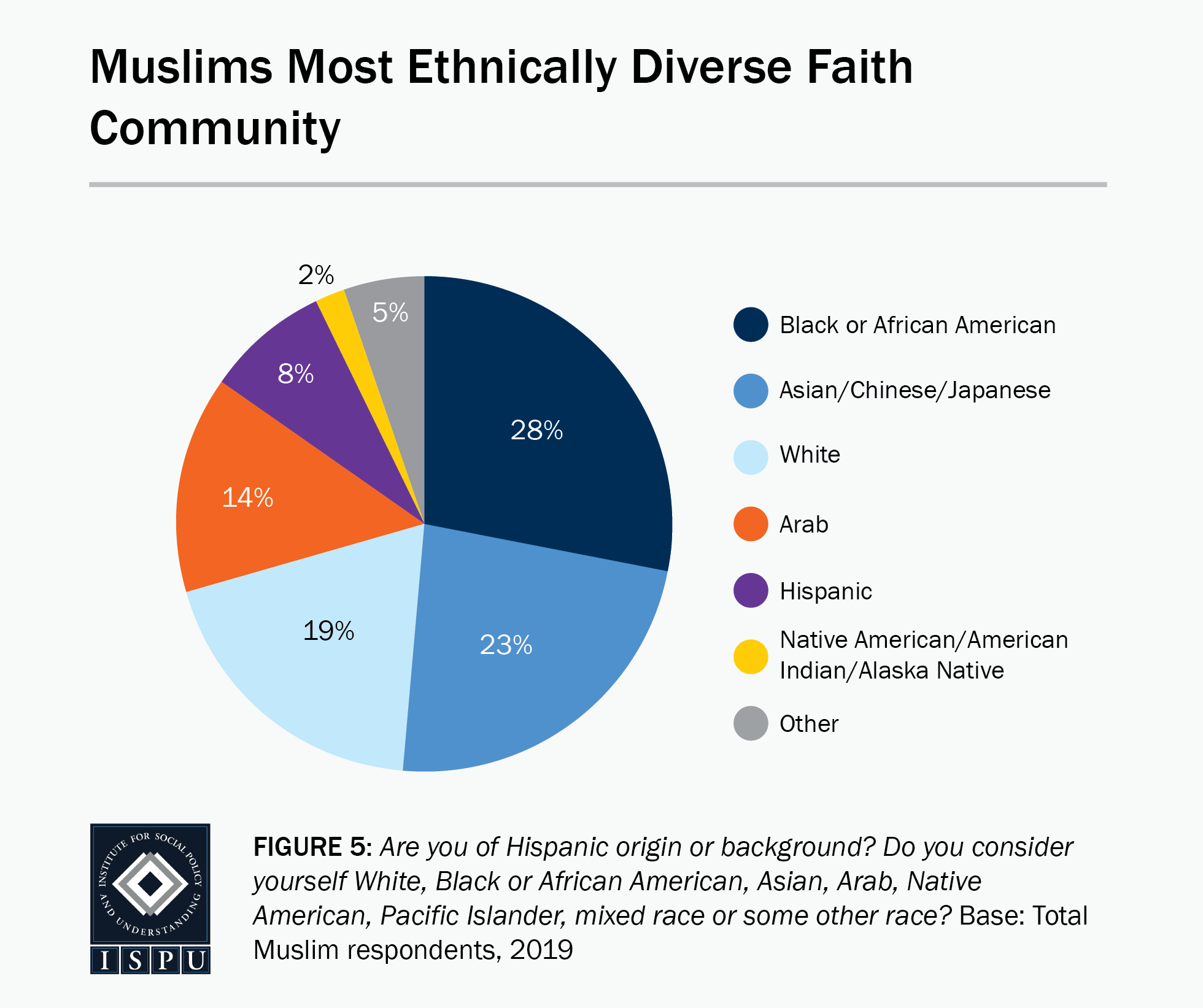 Figure 5: A pie graph showing the racial breakdown of American Muslims