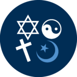 A star of David, yin-yang symbol, cross, and a star and crescent