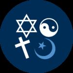 A star of David, yin-yang symbol, cross, and a star and crescent