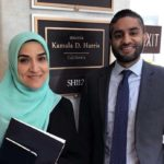 Dalia Mogahed and Kumar Rao in front of Kamala Harris's office