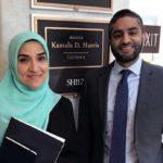 Dalia Mogahed and Kumar Rao in front of Kamala Harris's office