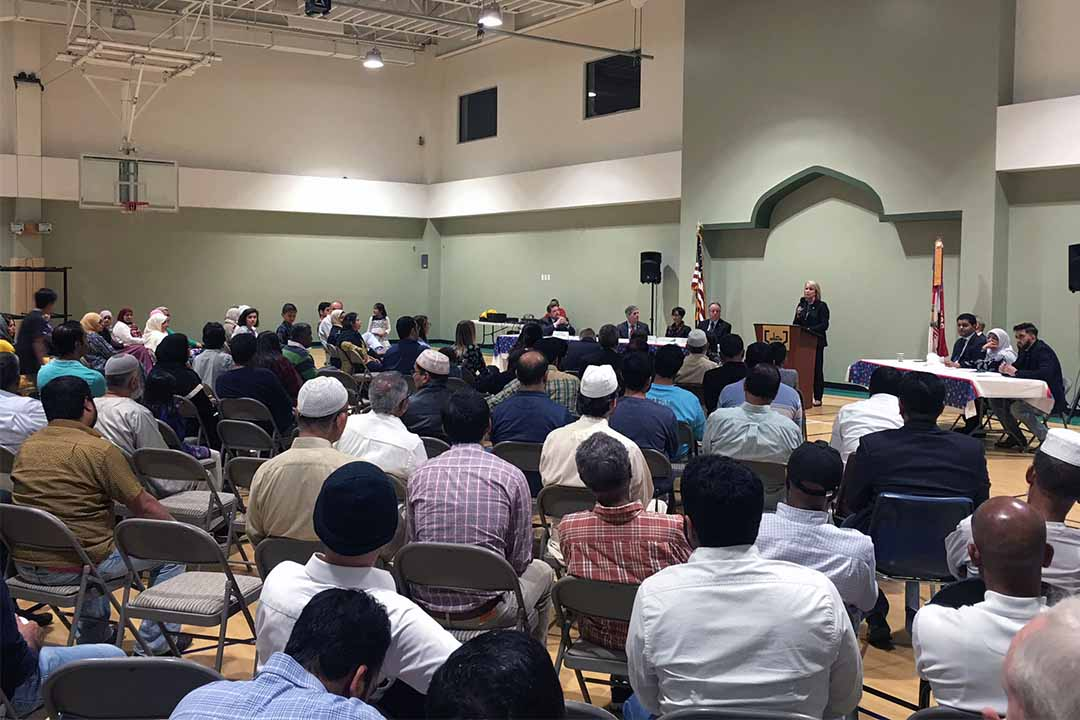 A candidate forum at ADAMS Center