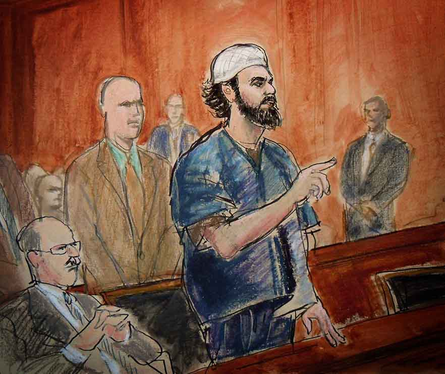 Courtroom sketch of a Muslim man on trial