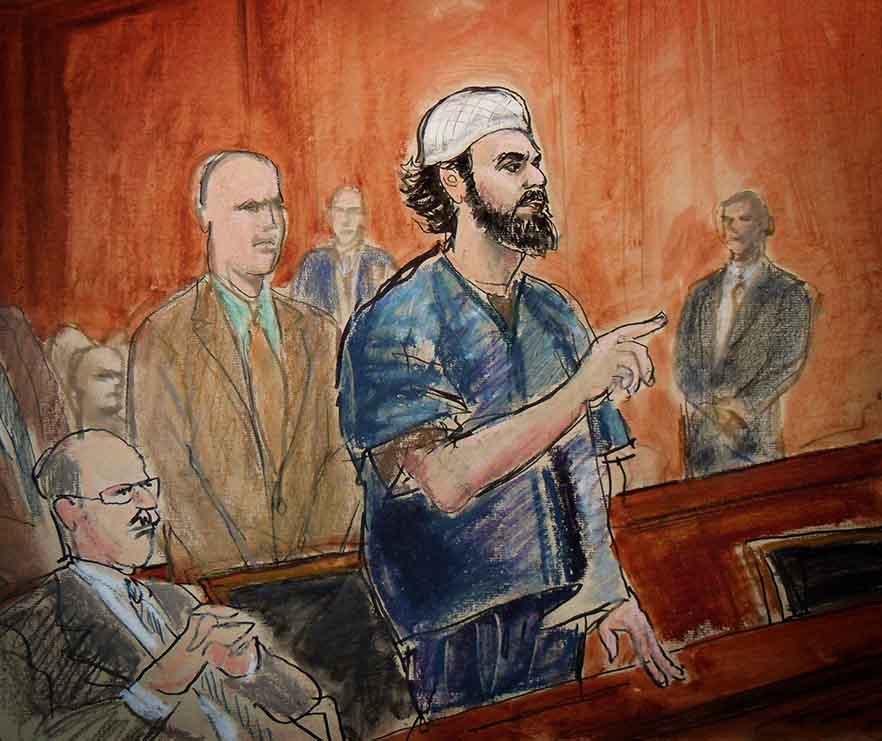 Courtroom sketch of a Muslim man on trial