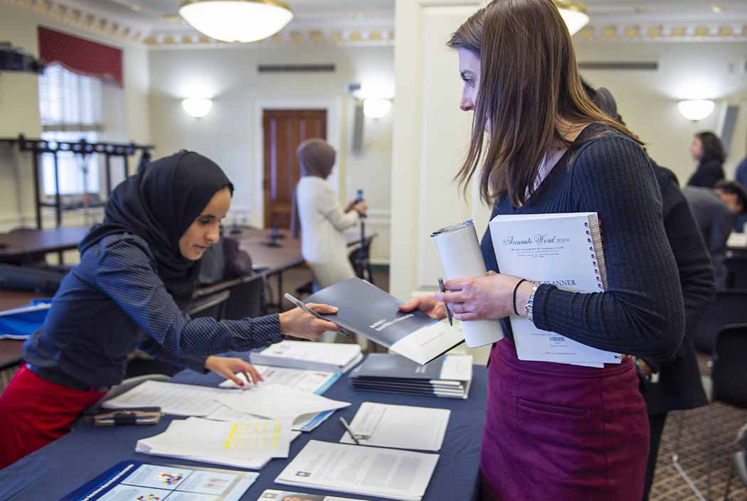 ISPU on Capitol Hill passing out research to House staffers (March 2020)
