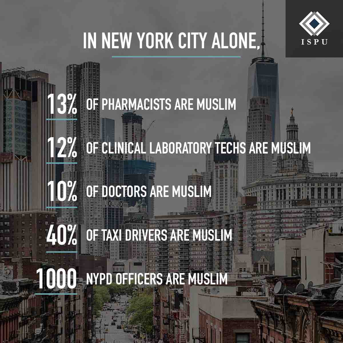 In NYC alone, 13% of pharmacists are Muslim, 12% of clinical lab techs are Muslim, 10% of doctors are Muslim, 40% of taxi drivers are Muslim, and 1000 NYPD officers are Muslim.