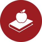 An apple on top of a book icon