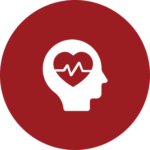A profile of a head with a heart in the middle icon