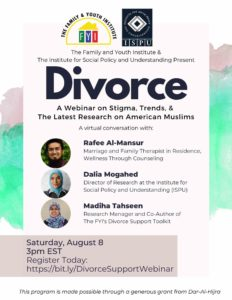 Divorce: A Webinar on stigma, trends, and the latest research on American Muslims