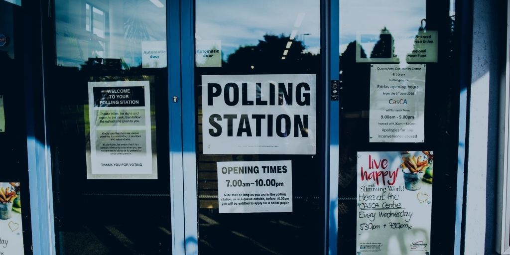 The door of a polling station